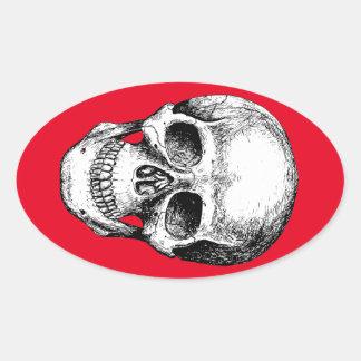 Human Skull White Face Oval Sticker