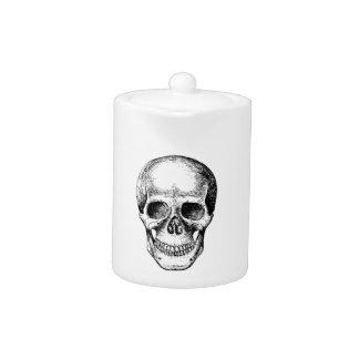 Human Skull White Face Teapot