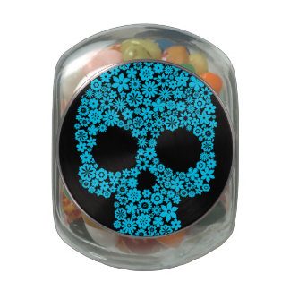 Human Skull With Flower Elements Jelly Belly Candy Jar