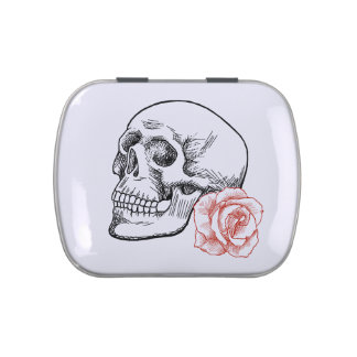 Human Skull With Red Rose Line Drawing Jelly Belly Candy Tin