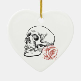 Human Skull With Red Rose Line Drawing Ceramic Ornament