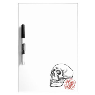 Human Skull With Red Rose Line Drawing Dry-Erase Whiteboard