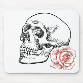 Human Skull With Red Rose Line Drawing Mouse Pad