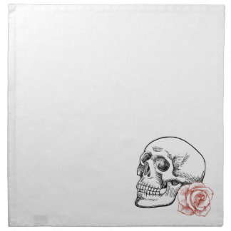 Human Skull With Red Rose Line Drawing Napkins