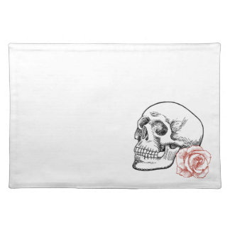 Human Skull With Red Rose Line Drawing Placemat