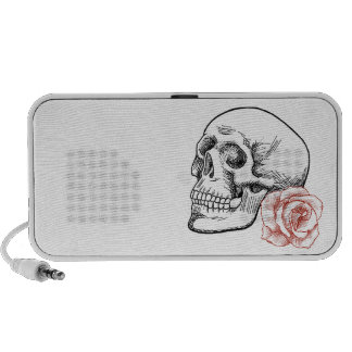 Human Skull With Red Rose Line Drawing Laptop Speakers