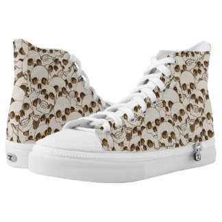 Human skulls background printed shoes