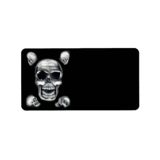 Human Skulls Black Address Labels