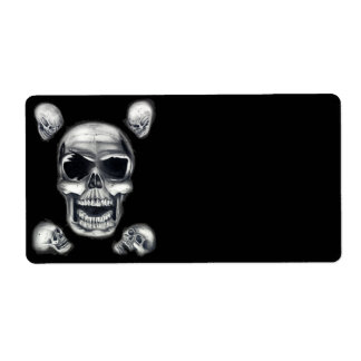 Human Skulls Black Shipping Labels