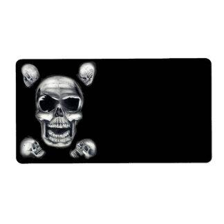 Human Skulls Black Shipping Labels