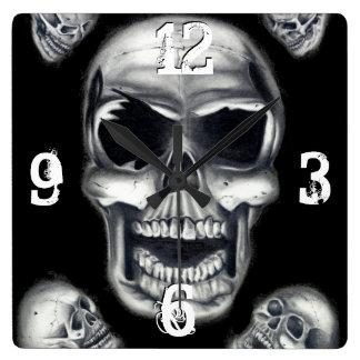 Human Skulls Black Wall Clock