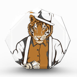 human tiger with playing cards award