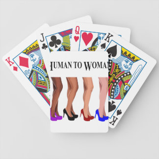 human to woman bicycle playing cards
