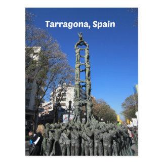 Human tower statue, Spain Postcard