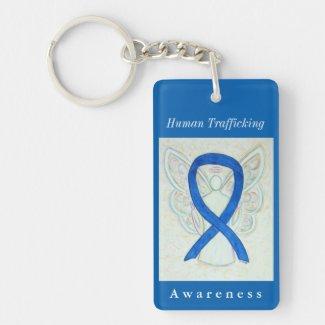 Human Trafficking Awareness Ribbon Angel Keychain