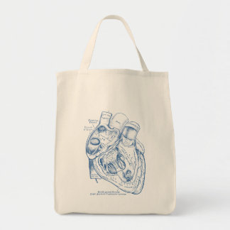 Human Vintage Anatomy Heart blue and white Tote Bag