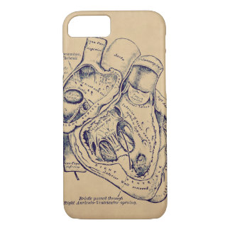 Human Vintage Anatomy Heart old paper texture iPhone 7 Case