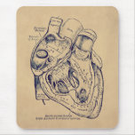 Human Vintage Anatomy Heart old paper texture Mouse Pad