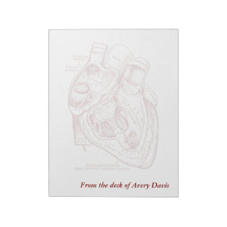 Human Vintage Anatomy Heart red and white Notepad