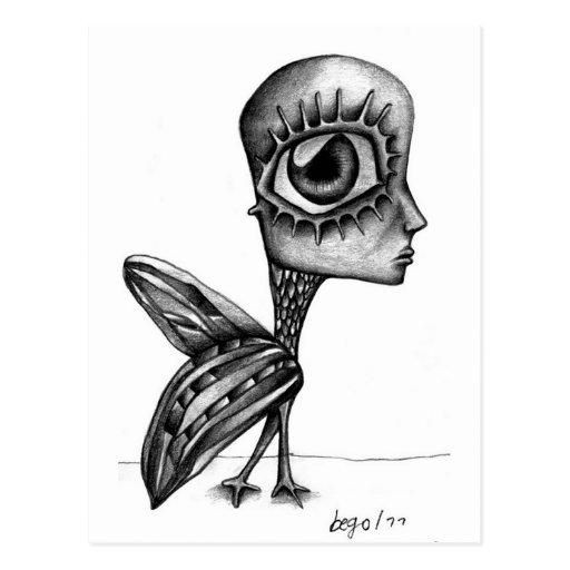 humanbird drawing postcard