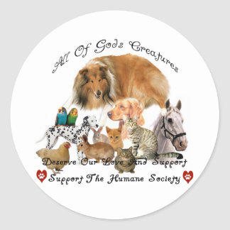 Humane Society All God s Creatures Animal Support Stickers