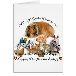 Humane Society All God's Creatures Animal Support Greeting Cards