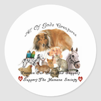 Humane Society All God's Creatures Animal Support Classic Round Sticker