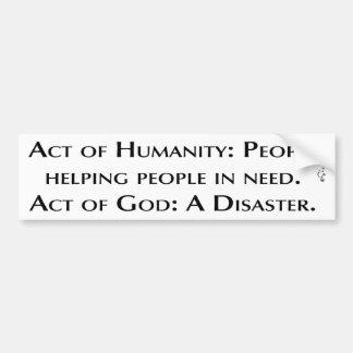 Humanidad contra dios pegatina para auto