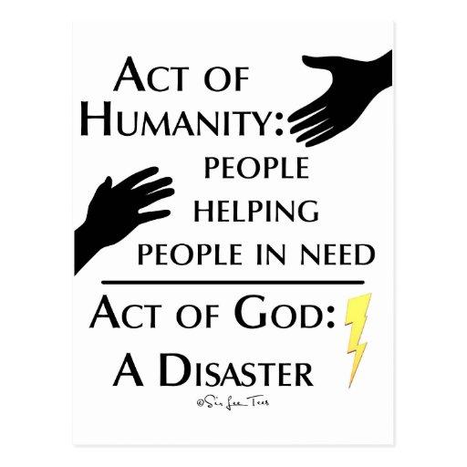 Humanidad contra dios tarjeta postal