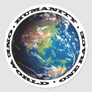 HUMANITY . ONE WORLD . ONE RACE CLASSIC ROUND STICKER