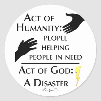 Humanity vs God Round Sticker