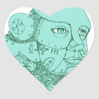 Humanoid Robot Head Female Monoline Heart Sticker