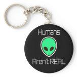 Humans Aren't REAL Green Alien Keychain