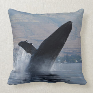 humback whale breaching throw pillow