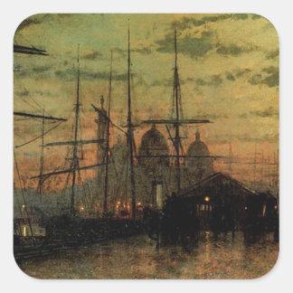 Humber Docks, Hull by John Atkinson Grimshaw Square Sticker