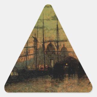 Humber Docks, Hull by John Atkinson Grimshaw Triangle Sticker