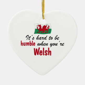 Humble Welsh Double-Sided Heart Ceramic Christmas Ornament