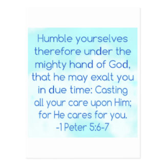 Humble Yourselves for He Cares for You Postcard