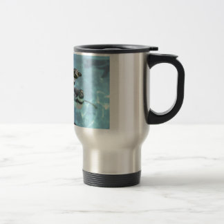 Humboldt penguin under water 15 oz stainless steel travel mug