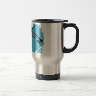 Humboldt penguins under water in irregular frame 15 oz stainless steel travel mug
