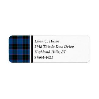 Hume Clan Royal Blue and Black Scottish Tartan Label