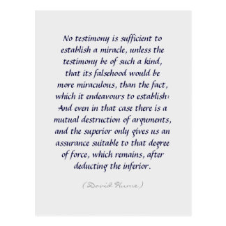 Hume miracles and evidence quote postcards