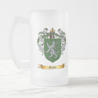 Hume Shield of Arms Frosted Glass Beer Mug