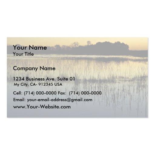 Humedal en la puesta del sol plantillas de tarjeta de negocio