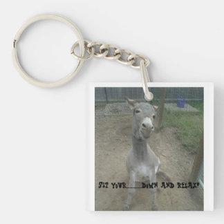 Humerous Donkey sitting gag gift for workaholic Double-Sided Square Acrylic Keychain