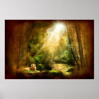 Humility del rey (poster del arte del león)