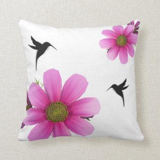 Humingbird & Cosmos Throw Pillow