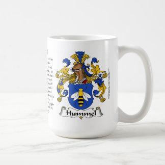 Hummel nombra el origen el significado y el escu taza de café