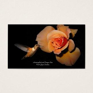 Hummer and Orange rose.jpg, Hummingbird and Ora... Business Card