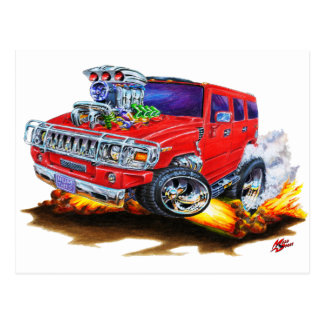 Hummer H2 Red Truck Postcard